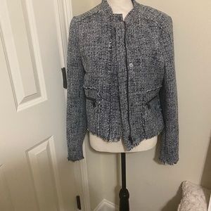 Banana Republic Tweed Fringe Zip Front Jacket